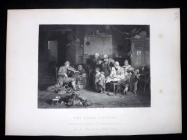 After David Wilkie C1870 Antique Print. The Blind Fiddler. Music